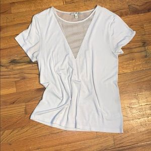 Express mesh v neck top